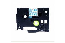 Brother TZ-153 / TZe-153, 24mm x 8m, kék nyomtatás / átlátszó alapon, kompatibilis szalag