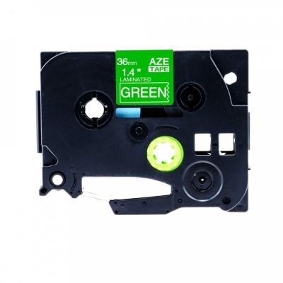 Brother TZ-765 / TZe-765, 36mm x 8m, fehér nyomtatás / zöld alapon, kompatibilis szalag