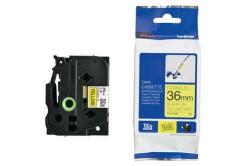 Brother TZ-FX661 / TZe-FX661, 36mm x 8m, flexi, fekete nyomtatás / sárga alapon, eredeti szalag