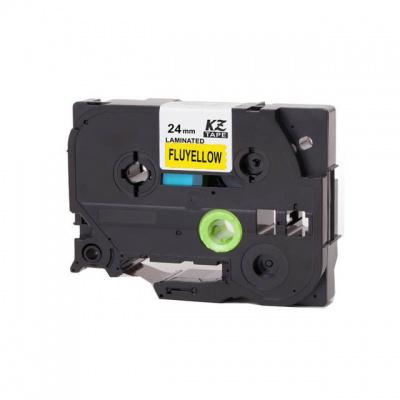Brother TZ-C51/TZe-C51, rikítós 24mm x 8m, fekete nyomtatás/sárga alapon, kompatibilis szalag