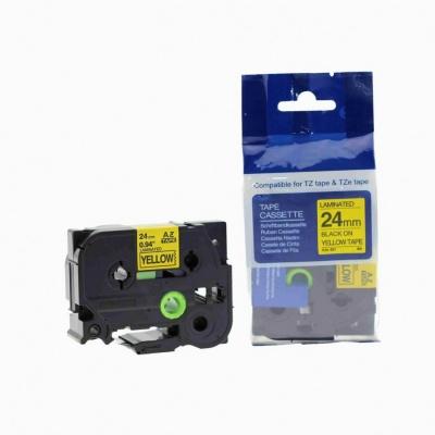 Brother TZ-651 / TZe-651, 24mm x 8m, fekete nyomtatás / sárga alapon, kompatibilis szalag