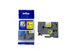 Brother TZ-FX611/TZe-FX611 6mm x 8m, flexi, fekete nyomtatás / sárga alapon, kompatibilis szalag