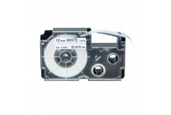 Utángyártott szalag Casio R7WE 12mm x 2,5m zsugorcső, fekete nyomtatás / fehér alapon