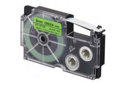 Casio XR-9FGN , 9mm x 8m, fekete nyomtatás /fluoreszkáló zöld alapon, utángyártott szalag