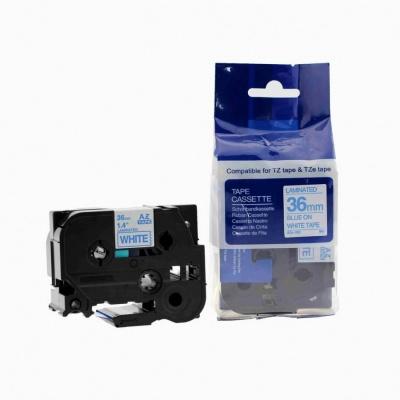 Brother TZ-263 / TZe-263, 36mm x 8m, kék nyomtatás / fehér alapon, kompatibilis szalag
