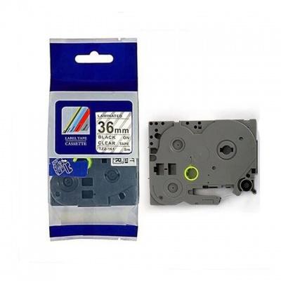 Brother TZ-161 / TZe-161, 36mm x 8m, fekete nyomtatás / átlátszó alapon, kompatibilis szalag
