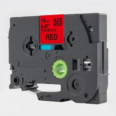 Brother TZ-FX431 / TZe-FX431, 12mm x 8m, flexi, fekete nyomtatás / piros alapon, kompatibilis szalag