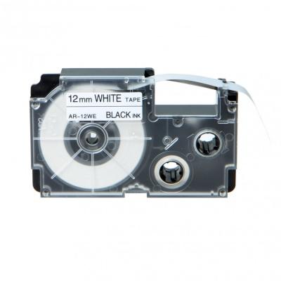 Casio XR-12WE1, 12mm x 8m fekete nyomtatás / fehér alapon, kompatibilis szalag