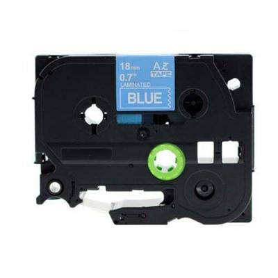 Brother TZ-545 / TZe-545, 18mm x 8m, fehér nyomtatás / kék alapon, kompatibilis szalag