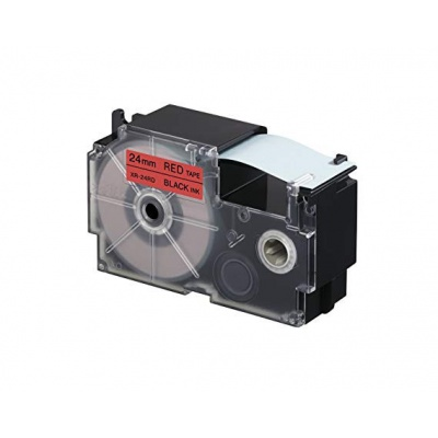 Casio XR-24RD1, 24mm x 8m fekete nyomtatás / piros alapon, kompatibilis szalag