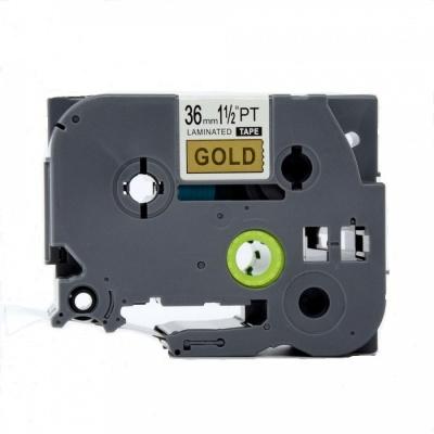 Brother TZ-861 / TZe-861, 36mm x 8m, fekete nyomtatás / arany alapon, kompatibilis szalag