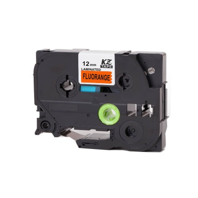 Brother TZ-B31/TZe-B31, rikítós 12mm x 8m, fekete nyomtatás/narancs alapon, kompatibilis szalag