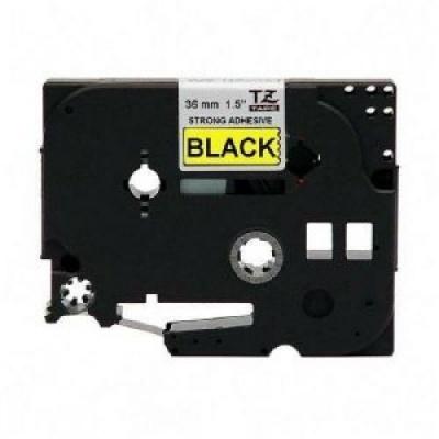 Brother TZ-S661/TZe-S661, 36mm x 8m, erősen ragadó, fekete nyomtatás / sárga alapon, kompatibilis szalag