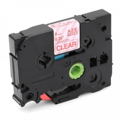 Brother TZ-122 / TZe-122, 9mm x 8m, piros nyomtatás / átlátszó alapon, kompatibilis szalag