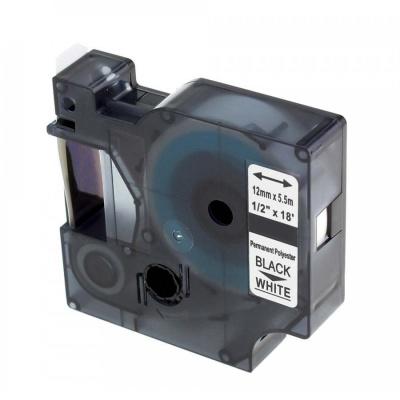 Dymo 18483, 12mm x 5, 5m fekete nyomtatás / fehér alapon, poliészter, kompatibilis szalag