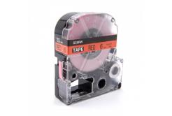 Epson LC-SC6RW, 6mm x 8m, fekete nyomtatás / piros alapon, utángyártott szalag