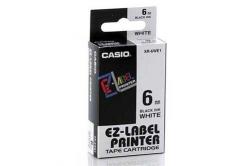 Casio XR-6WE1, 6mm x 8m, fekete nyomtatás / fehér alapon, eredeti szalag