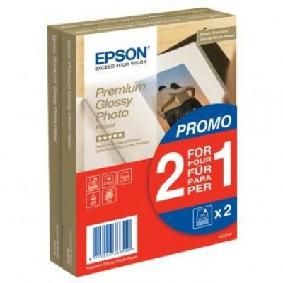 "Epson S042167 Premium Glossy Photo Paper, fotópapírok, fényes, fehér, 1+1, 10x15cm, 4x6"", 255 g/m2, 2x40 db"