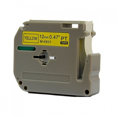 Brother MK-631, 12mm x 8m, fekete nyomtatás / sárga alapon, kompatibilis szalag