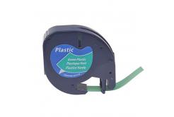 Dymo 59425, S0721590 / 91204, S0721640, 12mm x 4m, fekete nyomtatás / zöld alapon, kompatibilis szalag