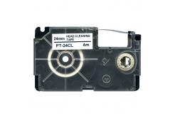 Casio XR-24CL, 24mm x 4m, fekete nyomtatás / fehér alapon, tisztítás, kompatibilis szalag