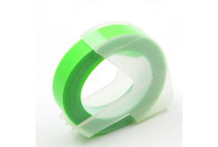 Dymo Omega, 9mm x 3m, fehér nyomtatás / fluoreszkálás zöld alapon, kompatibilis szalag