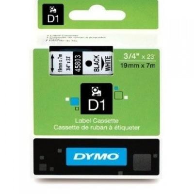 Dymo 45803, S0720830, 19mm x 7m, fekete nyomtatás / fehér alapon, eredeti szalag