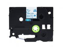 Brother TZe-FA4, 18mm x 3m, kék nyomtatás / fehér alapon, vasalható, kompatibilis szalag