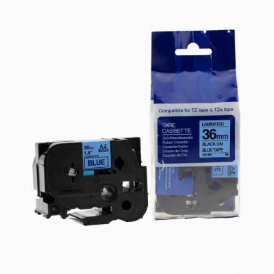 Brother TZ-561 / TZe-561, 36mm x 8m, fekete nyomtatás / kék alapon, kompatibilis szalag