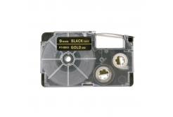 Casio XR-9BKG 9mm x 8m arany nyomtatás / fekete alapon, kompatibilis szalag