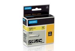 Dymo Rhino 18432, S0718450, 12mm x 5,5m fekete nyomtatás / sárga alapon, eredeti szalag