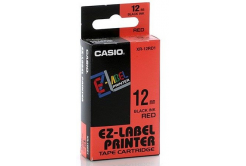 Casio XR-18RD1, 18mm x 8m, fekete nyomtatás / piros alapon, eredeti szalag