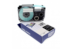 Casio XR-12ABU 12mm x 8m fehér nyomtatás / kék alapon, kompatibilis szalag