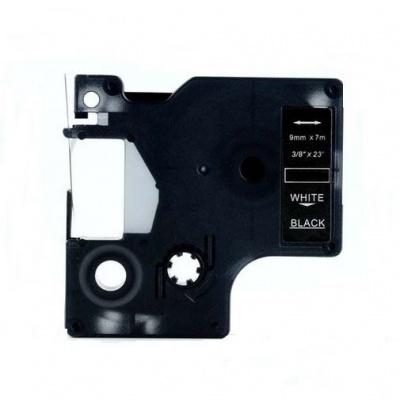 Dymo 40921, 9mm x 7m fehér nyomtatás / fekete alapon, kompatibilis szalag