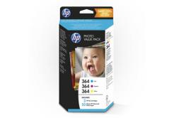 HP Photo Value T9D88EE, fotópapírok, fehér, HP 364, 10x15cm